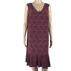 Roz & Ali Dress Shift Purple Pink Paisley